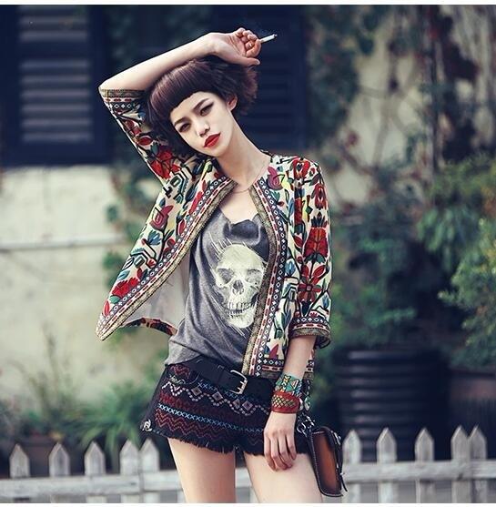 夏の女性春のビンテージ刺繍印刷ナショナルウインドジャケット女性のシンコートショートジャケット