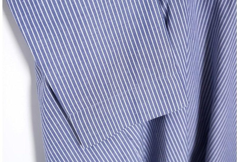 『韓国製』SELLISHOP ストライプ柄 ワンピース「大きいサイズ 大人 韓国 ファッション・結婚式・フォマール 黒 フレア 30代 40代 50代 スレンダー・Aライン,シャツ・上品・ロング ミセ