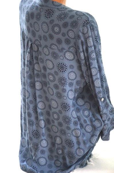レディースファッションプラスサイズカジュアルルーVネックプリントブラウストップZH6150