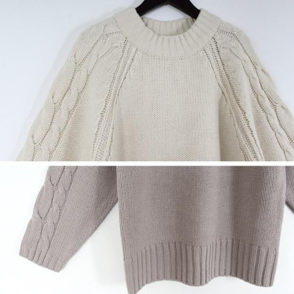 45678(韓国ファッション)日本発送 ♪【ケーブルニット♪ボリューム袖 ルーズシルエット♪可愛い】