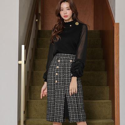 [styleonme]【Styleonme】♥スタイルオンミ♥韓国ファッション♥韓国通販♥ゴールドボタン ツイードスリットスカート