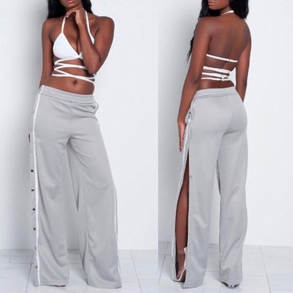セクシーな女性スプリットサイドボタンをカットワイドレッグジョギングパンツカジュアルなズボン