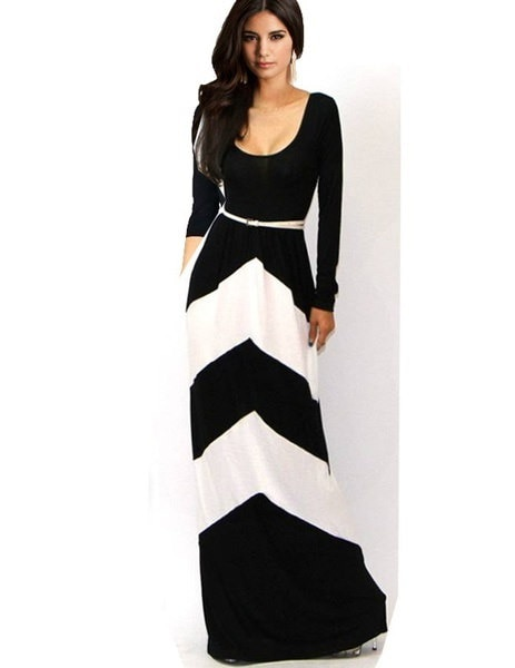 2017新しいファッション女性セクシーな幾何学的なストライプカラーブロック長袖マキシフルドレスSundressコック