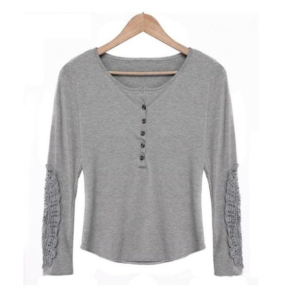 女性トップ刺繍レースクルーネックカジュアルレディースサイズストレッチシャツブラウスプラス