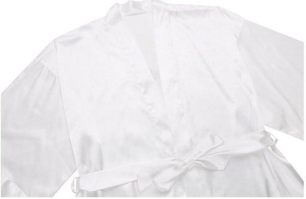 セクシーな浴衣の夜の花嫁ローブショートサテンのウェディングロープ(サイズ:S、カラー:ホワイト)