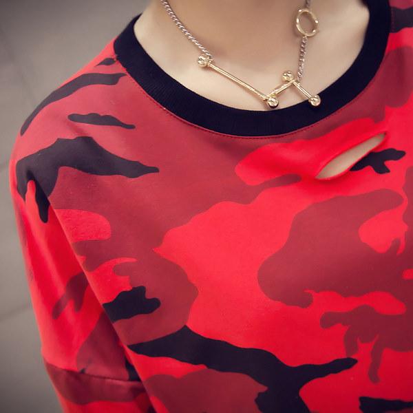 迷彩Tシャツ☆ゆったり 七分丈 長袖 おしゃれ ドルマン