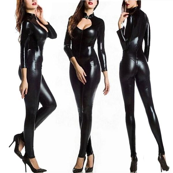高品質2017ハロウィンブラック猫の衣装女性偽レザーの猫のスーツエロティックフロントジッパーCa