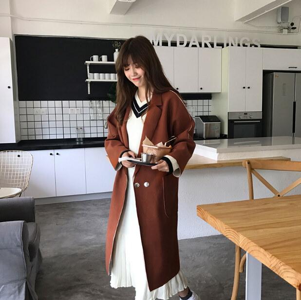 品質大事!2017韓国ファッション / ゆったりしたシルエットで体型カバー可能!女性美up / ビッグポケットロングカーディガン 冬シーズン /ワンピース//ニットセーター/Vネック/着痩