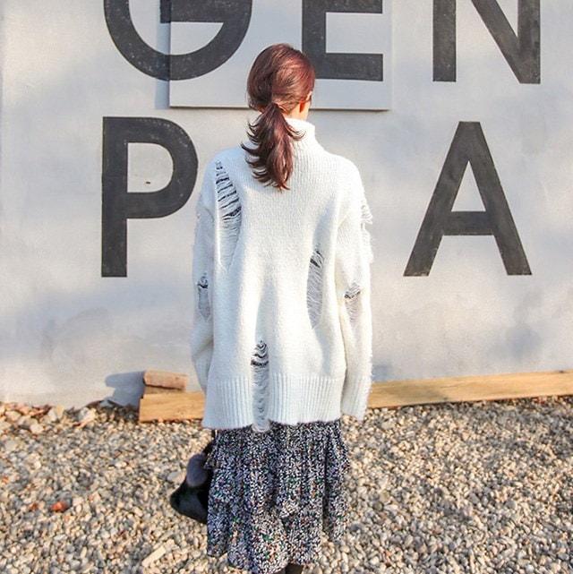 ヴィンテージヘジム首ポーラロングニットティーデイリールックデイリーバックkorea women fashion style