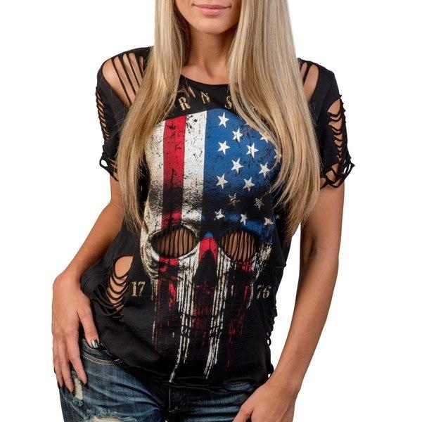 ホールセクシーなトップ半袖スカルプリントコットンOネックTシャツプラスサイズ
