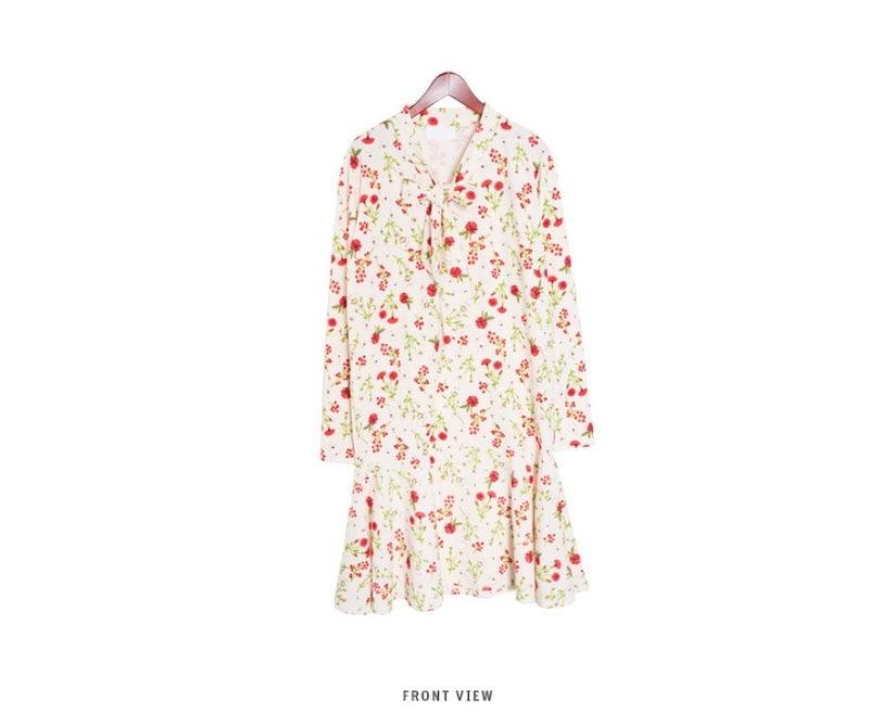 『韓国製』SELLISHOP  花柄 リボン ワンピース「大きいサイズ 大人 韓国 ファッション・結婚式・フォマール 黒 フレア 30代 40代 50代 スレンダー・Aライン,シャツ・上品・ロング ミ