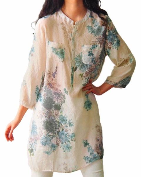 ヴィンテージ女性の花のプリントカジュアルルーズトップスシャツのチュニックドレスKaftan
