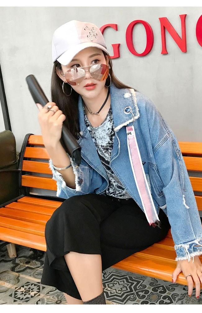 レディス服 女性 トップス アウター コート Gジャン ジージャン ジャケット 長袖 ボタン デニム カジュアル ベーシック ポケット ショート丈 大きいサイズ オーバーサイズ 原宿風 ダメージ加工