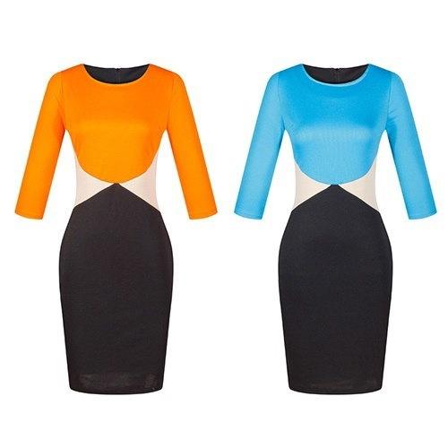 女性セクシーボディコンパッチワークカラーブロックスリムフィットスカートオフィスペンシルドレス