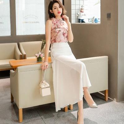 韓国ファッション 春 韓国 フリル付きタイトロングスカート