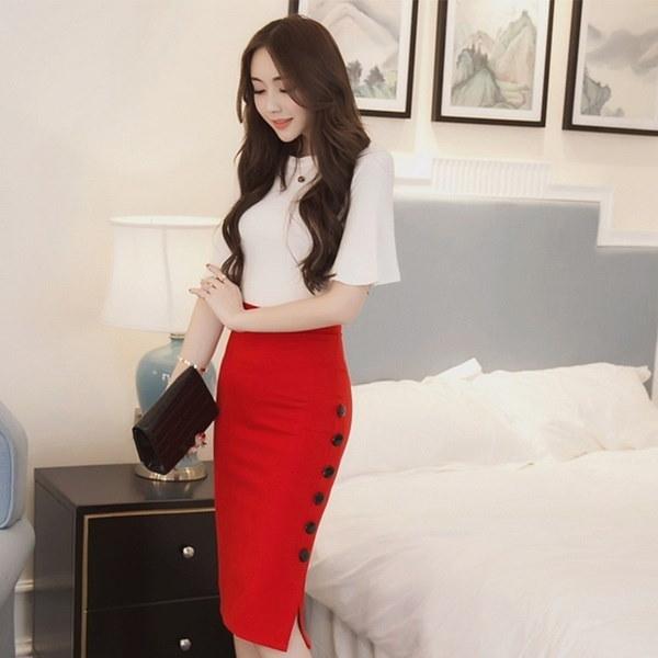 新しいファッションセクシーな女性のドレスレディーススカートミディスリムOLセクシーなオープンスリットボタン鉛筆のスカートパッケージH