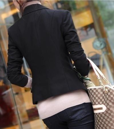 ファッション女性レディーススリムカジュアル/ OLショートスーツコートジャケットブレザートップスシングルボタンジャケットSprin