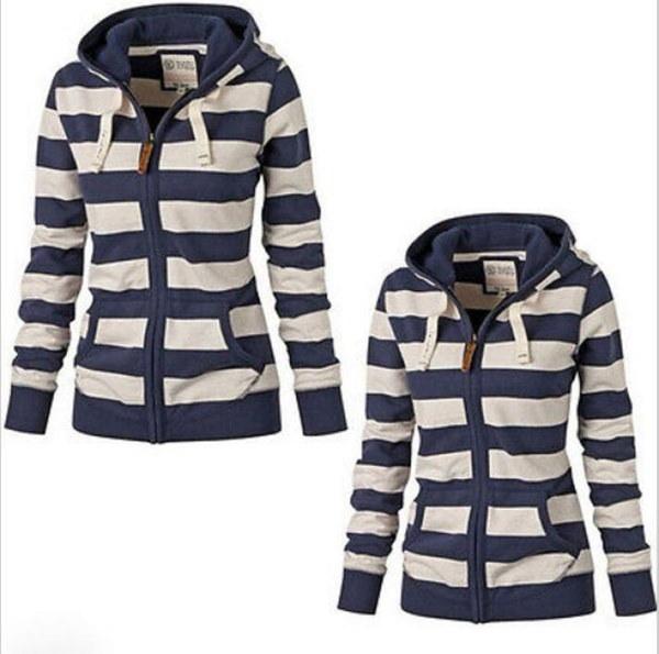 新しい秋冬ヨーロッパ原宿スリム女性フード付きセーターコートストライプロングスリーブブルーホワイトW