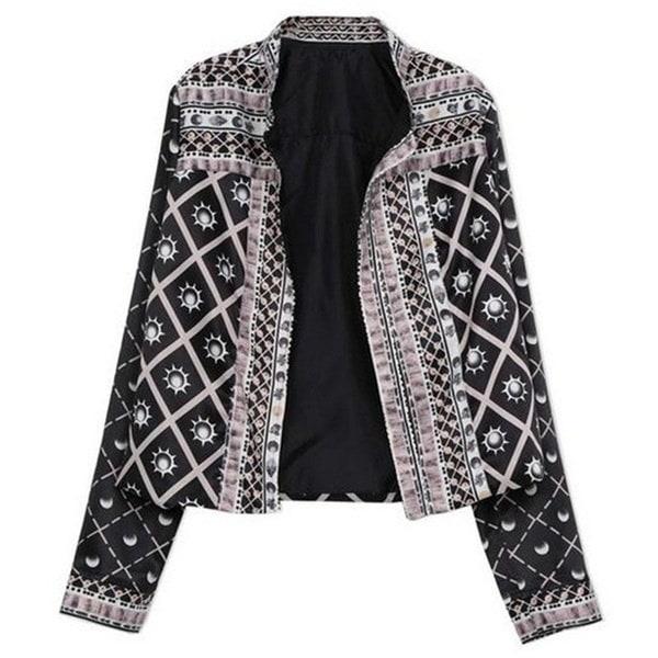 新しいスタイルの女性プリントジャケット秋の爆撃機のジャケットのベーシックコートラグジュアリースリムオフィスレディースアウトレットTh