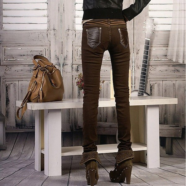 女性のファッションカジュアルパンツ女性デニムズボン鉛筆のズボンのためのファッションPUレザージーンズ