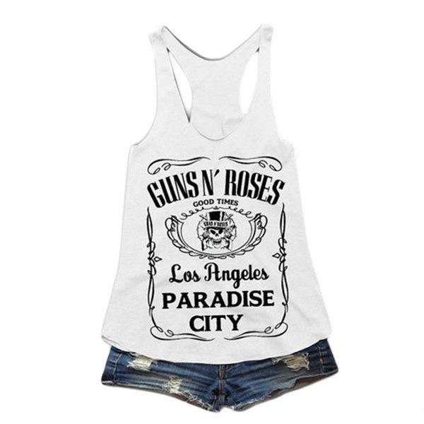 ガンズローゼズ流行の女性タンクトップ黒と白の夏のTシャツ