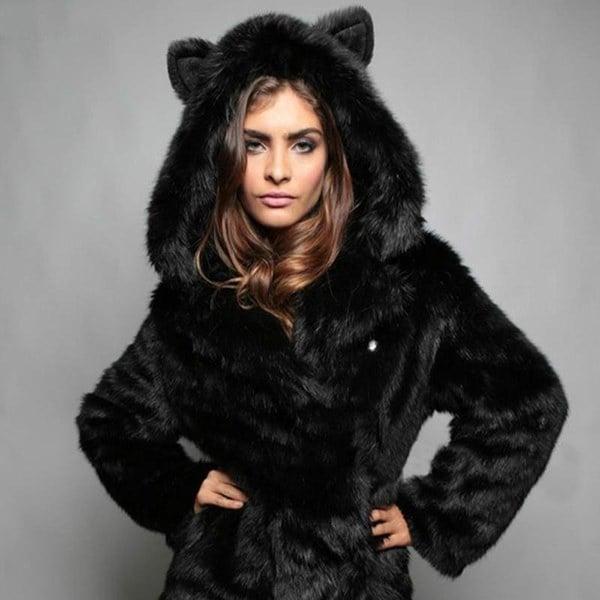 新しいファッションプラスサイズの女性フェイクファーフード付きの厚いパンダかわいいオーバーコート