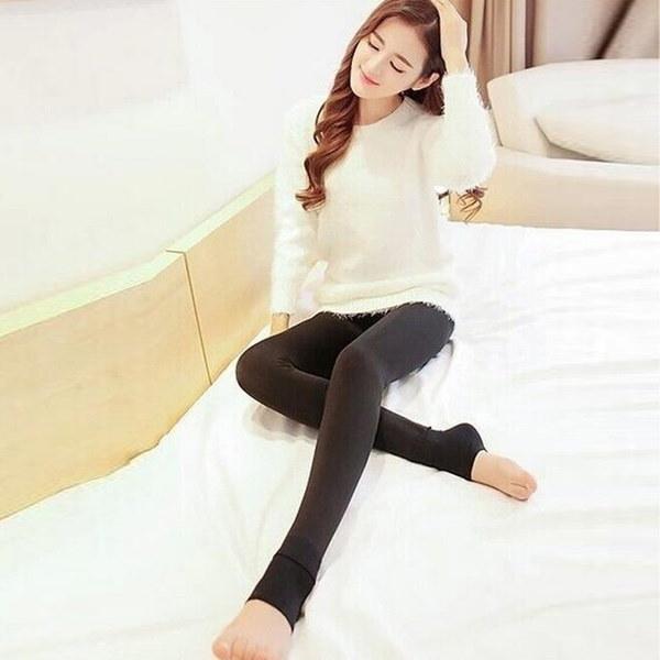 暖かい新しい冬の女性は、暖かいパンツとカシミアのズボンを厚くするハイウエストフリースレギンスのズボン