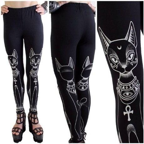 エジプト猫スタンプヒッピーファッションゴシックスキニーカジュアルパンツタイツレギンス
