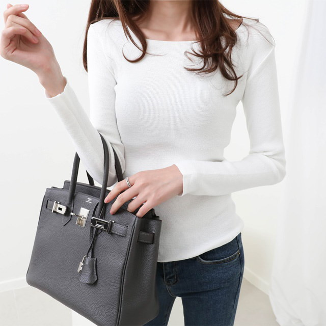 [Deming] Square neck long sleeves knit 6 color Pastel knit slim fit knit Basic knit plain knit
