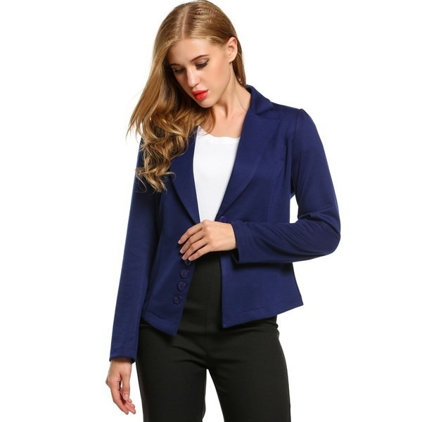 Women s Long Sleeve Solid Casual Work Office Slim One Button Blazer