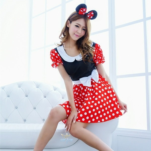 Gift Minnie Mouse Party Fancy Costume Cosplay Girls Ballet Tutu Dress+Ear Headband Girls Polka Dot D