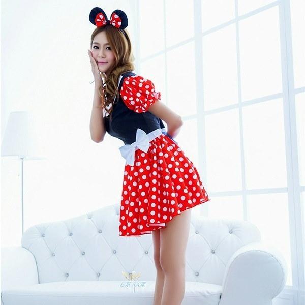 Gift Minnie Mouse Party Fancy Costume Cosplay Girls Ballet Tutu Dress+Ear Headband Girls Polka Dot D