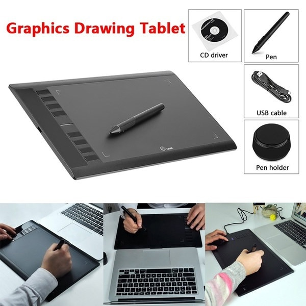 UGEE M708 10 x 6 Drawing Areaデジタルアートグラフィックス描画ペンタブレット(カラー:Bla
