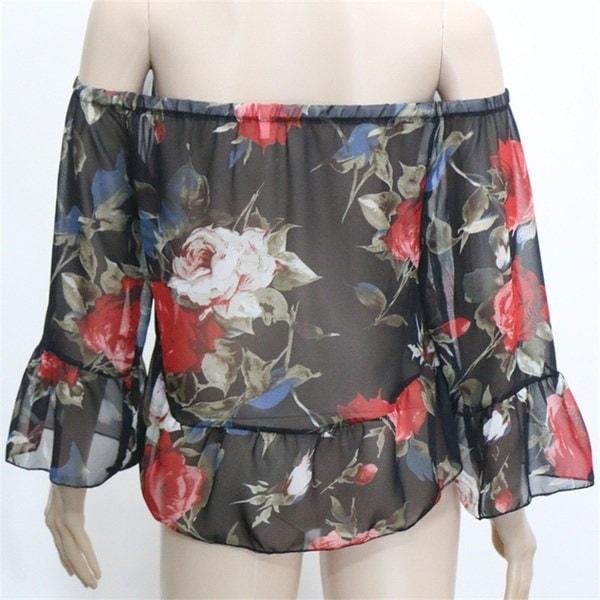 新しい女性セクシーなオフショルダーフレアスリーブブラウスレディースカジュアルトップスビーチBOHO TシャツS-XL