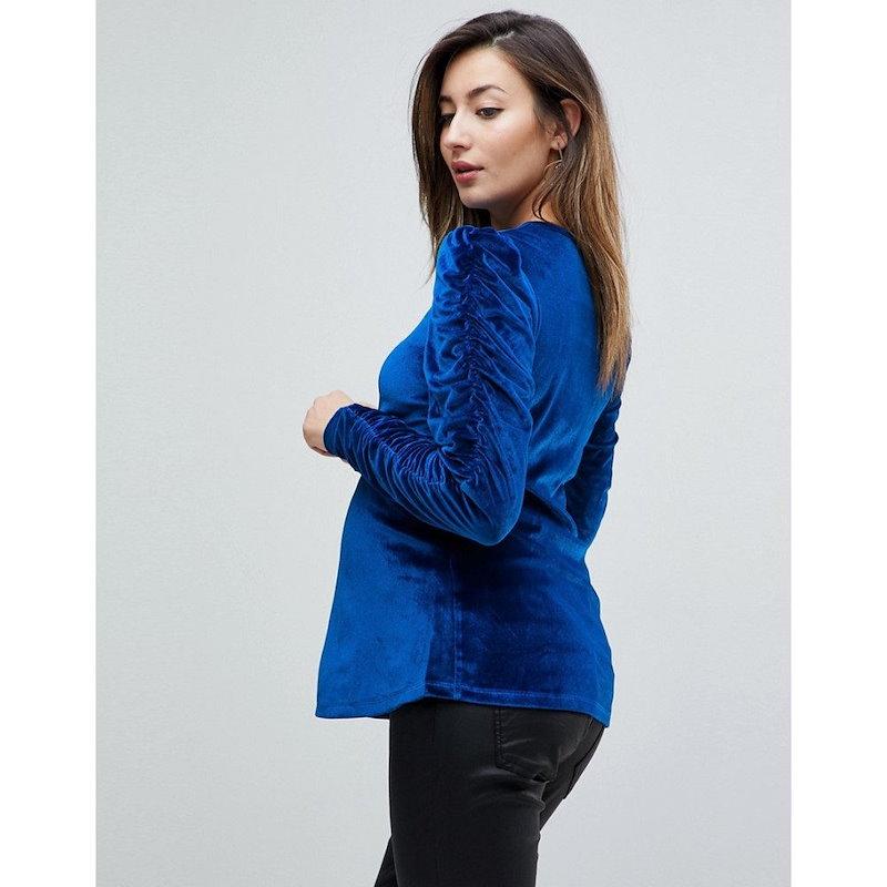 エイソス レディース トップス【ASOS Maternity Top in Velvet with Ruched Sleeves】Cobalt blue