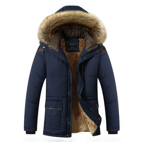 2017ウィンターコートプラスサイズメンズジャケットウォームオーバーコートアウトウェアコットンフード付きダウンコート