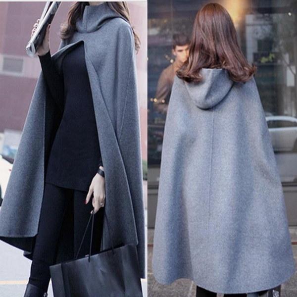 秋冬韓国スタイルのヴォーグレディーグレーフード付きのクロークウール風のコート女性エレガントなロングケープ