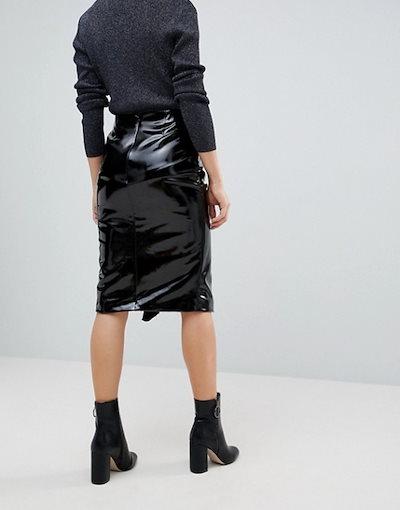 ミスセルフフリッジ レディース スカート ボトムス Miss Selfridge Gathered Vinyl Midi Skirt