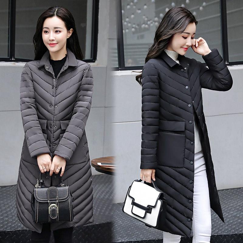 新しい冬の長いジャケットの女性のコートパッド入りの綿のジャケット生き抜くパーカーレディース服を温めます