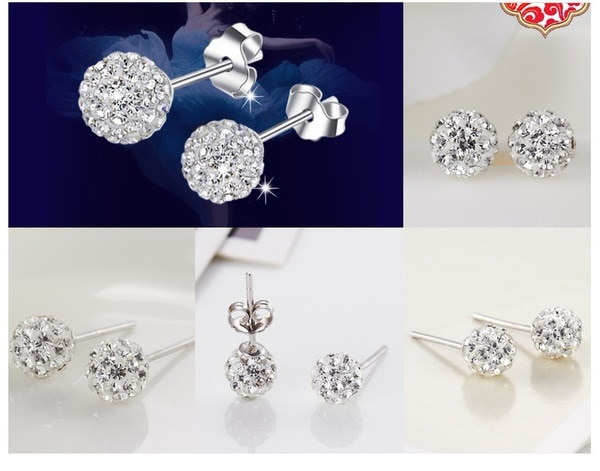 女性のファッション1ペアラインストーンCZ花バドボールスタッドピアスダイヤモンド&クリスタルアレルギー