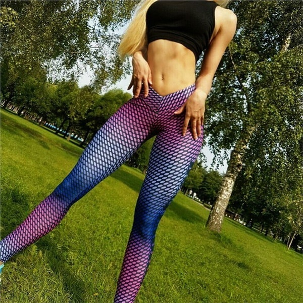 Women Thin Printed Compression Running Tights Yoga Sports Gym Slim Fitness Trousers Athletic Fitness