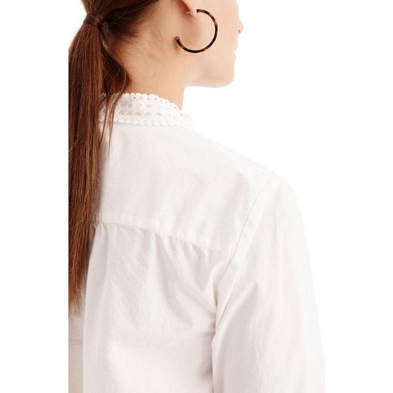 ジェイクルー レディース トップス ブラウス・シャツ【J.Crew Lace Bib Popover Shirt】White