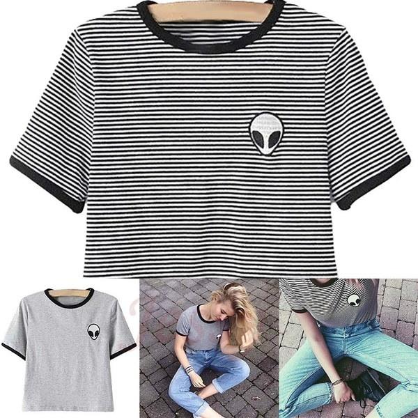 新しいファッション3Dプリントエイリアントップ半袖Tシャツ女性CamisetasティーンエイジャーTシャツ女性T