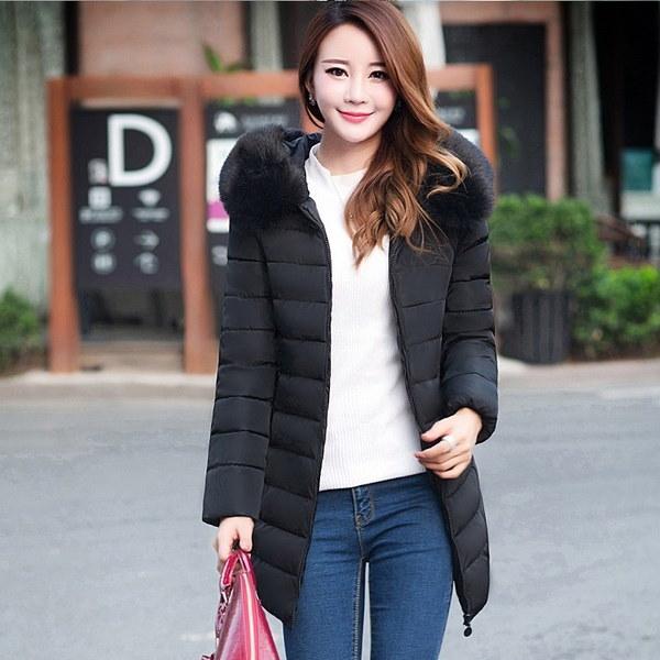 ファッション毛皮の襟冬レディースコットンパッド付きスリムロングダウンジャケットコートプラスサイズ5XL