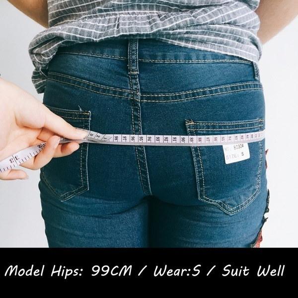 女性ファッションプラスサイズローズ刺繍リップジーンズ女性セクシーカジュアルスキニージーンズグレートストレッチ