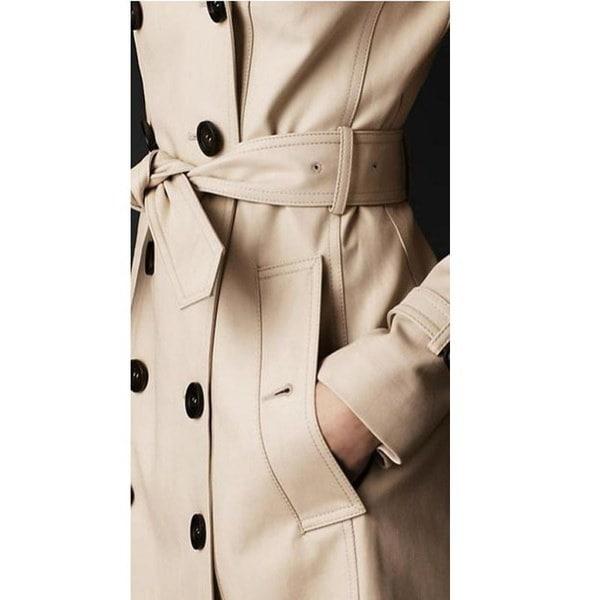 女性ファッションヨーロッパスタイルカジュアルスリムコートジャケットトレンチコートベルト付きダブルブレストピーコート