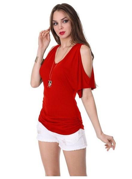 女性のファッションセクシーなVネックコールドショルダーコットントップスのTeeカジュアルソリッドカラーシャツ女性のための