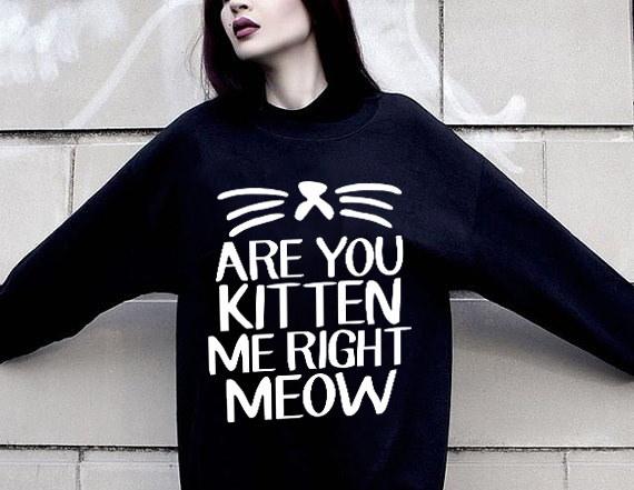 かわいい動物猫のスウェットシャツティーンパーカージャンパー長いSl