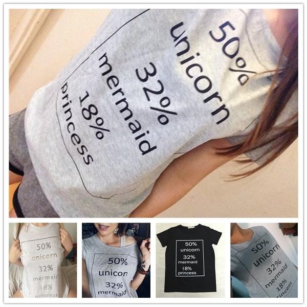 女性ファッションカジュアルルーズコットングレーホワイトTシャツ半袖50%ユニコーン32%人魚18%プリンセス