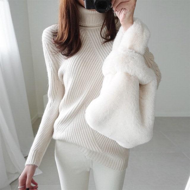 [Deming] Mint Angora Turtleneck 4 Color Polar Knit Angora Knit Turtleneck Winter Knit